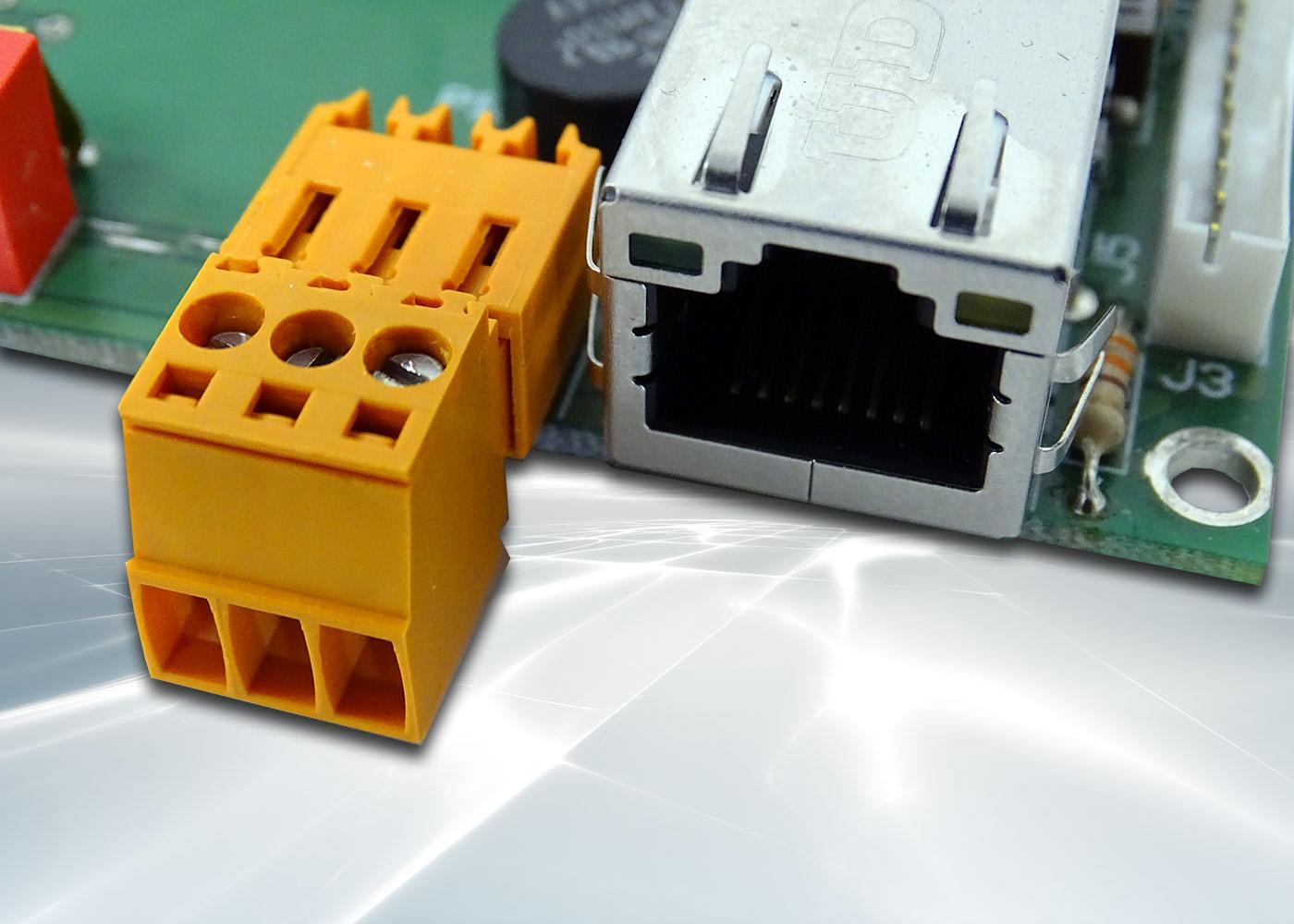 Terminal ASCII OEM RS232 / Ethernet avec afficheur OLED et gestion de 8 touches et 4 LEDs – Bornier d'alimentation 9-32V et prise Ethernet