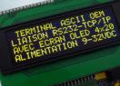 Terminal ASCII OEM RS232 / Ethernet avec afficheur OLED et gestion de 8 touches et 4 LEDs – Bornier d'alimentation 9-32V et prise Ethernet – Afficheur OLED contraste 2000:1