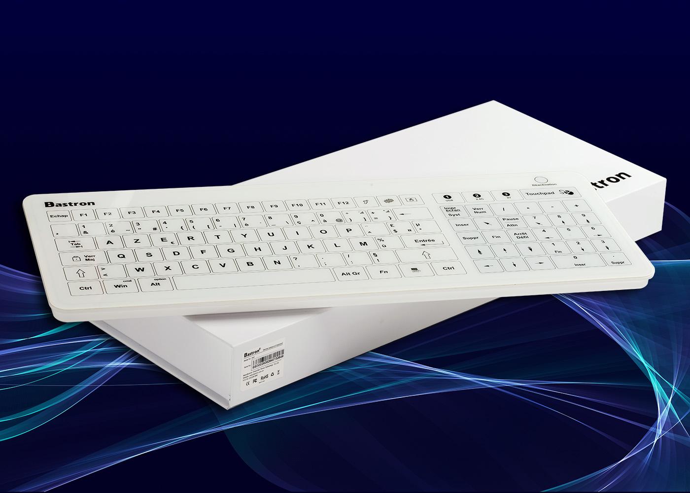 Clavier tactile B45 – Vue du dessus posé sur écrin carton blanc
