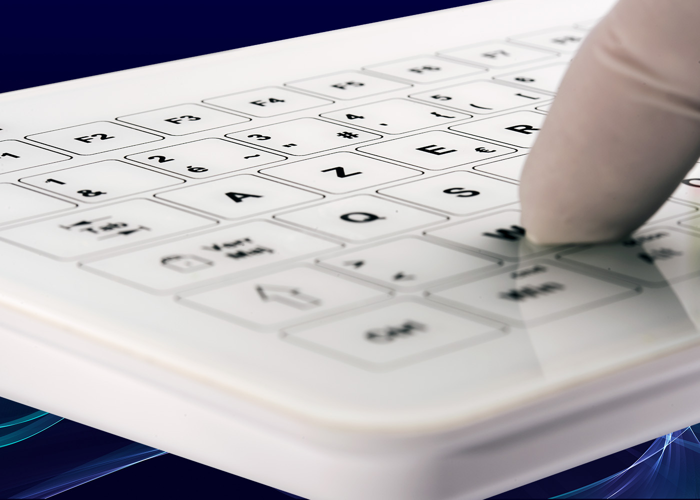 Clavier tactile B45 – face avant verre trempé 2 mm et fond en plastique ABS blanc