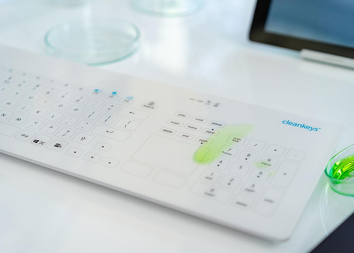 Clavier tactile sans fil cleankeys CK4 – Surface en verre