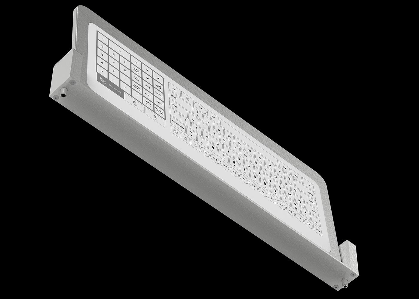 Bastron® B96 – Clavier tactile en tablette inox rabattable – Vue fixation