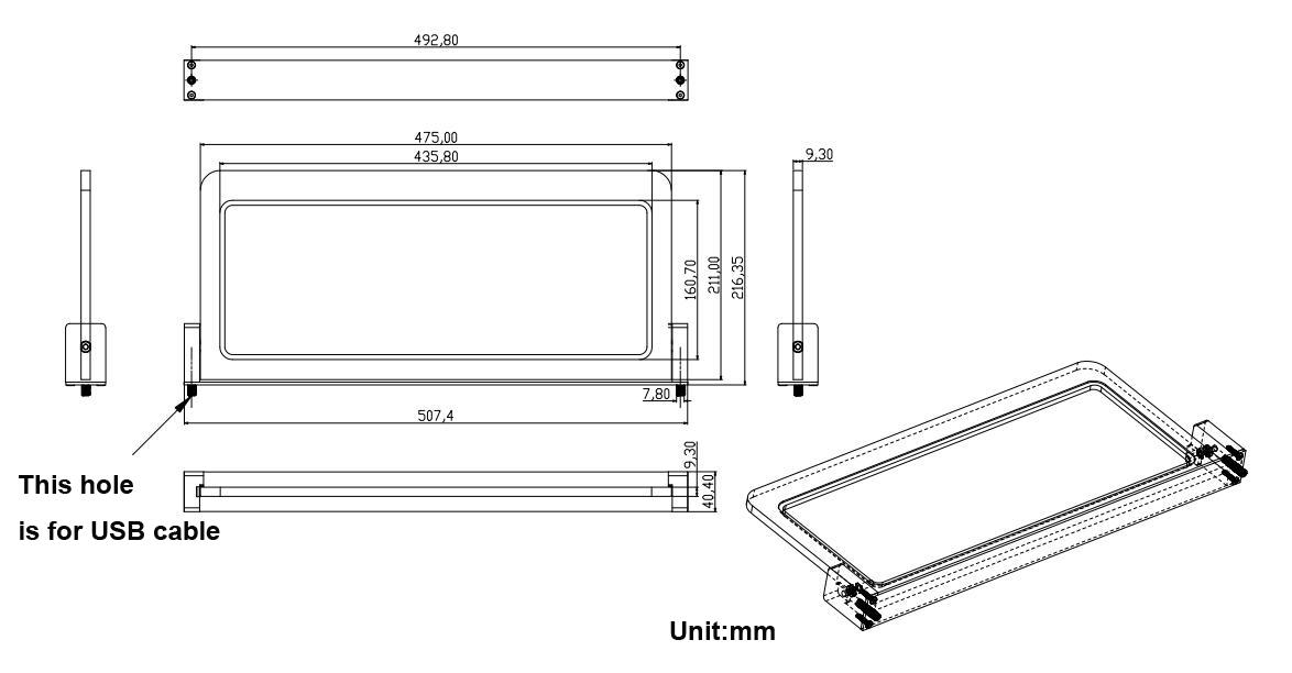 Dimensions tablette B96 Bastron